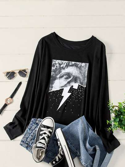 Plus Sculpture & Lightning Print Tee