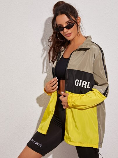 Color-block Letter Graphic Windbreaker Jacket