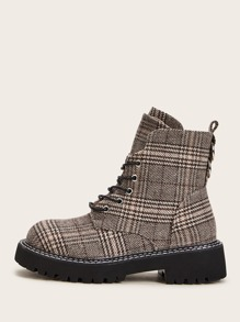 Lace-up Front Plaid Combat Boots