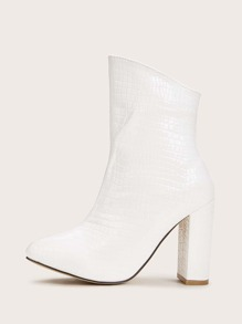 Point Toe Croc Embossed Chunky Heels