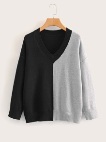 Drop Shoulder Two Tone V-Neck Jumper
