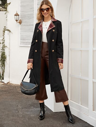 Contrast Plaid Panel Belted Trench Coat
