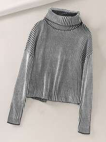 High Neck Vertical Striped Sweater