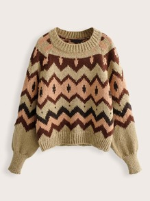 Raglan Sleeve Chevron pattern Jumper