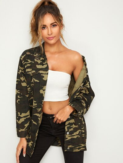 Camo Print Topstitching Denim Jacket