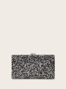 Glitter Clip Top Clutch Bag