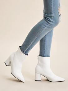 Point Toe Zip Back Chunky Heels
