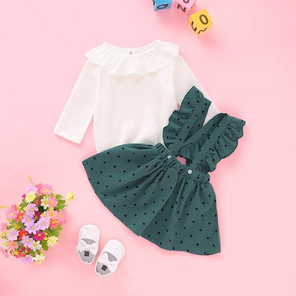 Baby Girl Ruffle Rib-knit Romper With Polka Dot Skirt, Multicolor