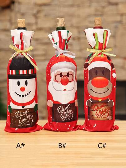 1pc Christmas Wine Bottle Cover