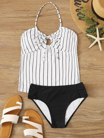 Striped Tie Front Tankini Set