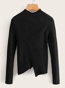Asymmetrical Hem Ribbed Jumper