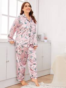 Plus Floral Print Satin PJ Set