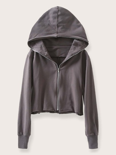 Zip Up Hooded Crop Sweatshirt