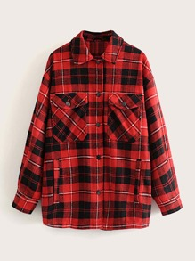 Plaid Flap Pocket Button Up Blouse