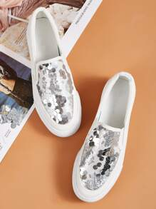 Sequins Decor Slip On Sneakers