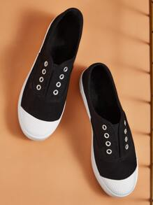 Two Tone Slip On Canvas Sneakers
