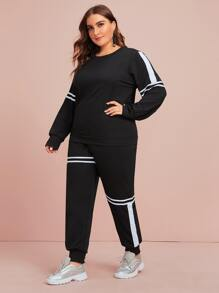 Plus Varsity Striped Sweatshirt & Sweatpants