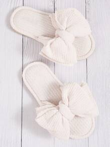 Bow Decor Fuzzy Slippers