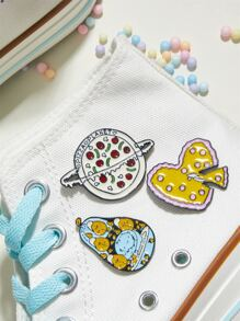 3pcs Pizza Planet Design Brooch
