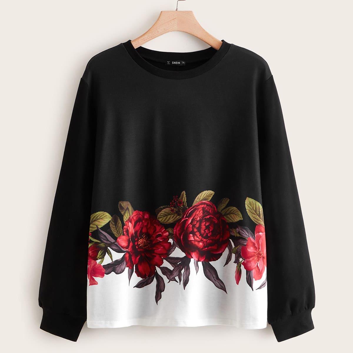 Контрастный пуловер размера плюс с цветочным принтом