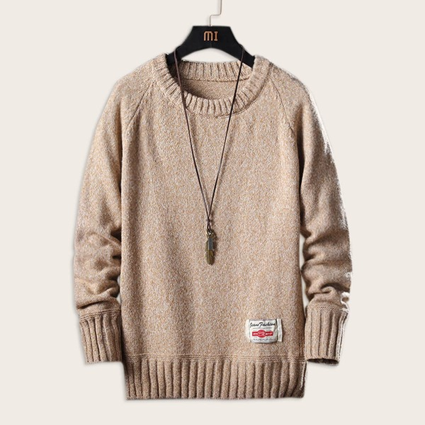 Men Elbow Patch Space Dye Sweater, Khaki