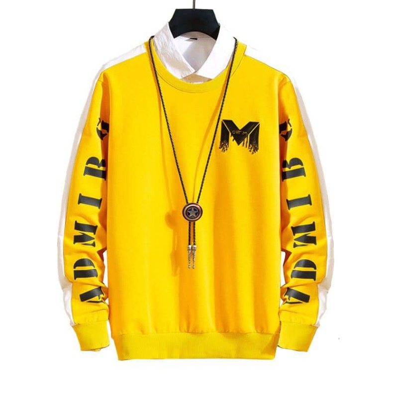 Guys Contrast Panel Letter Graphic Sweatshirt, Yellow