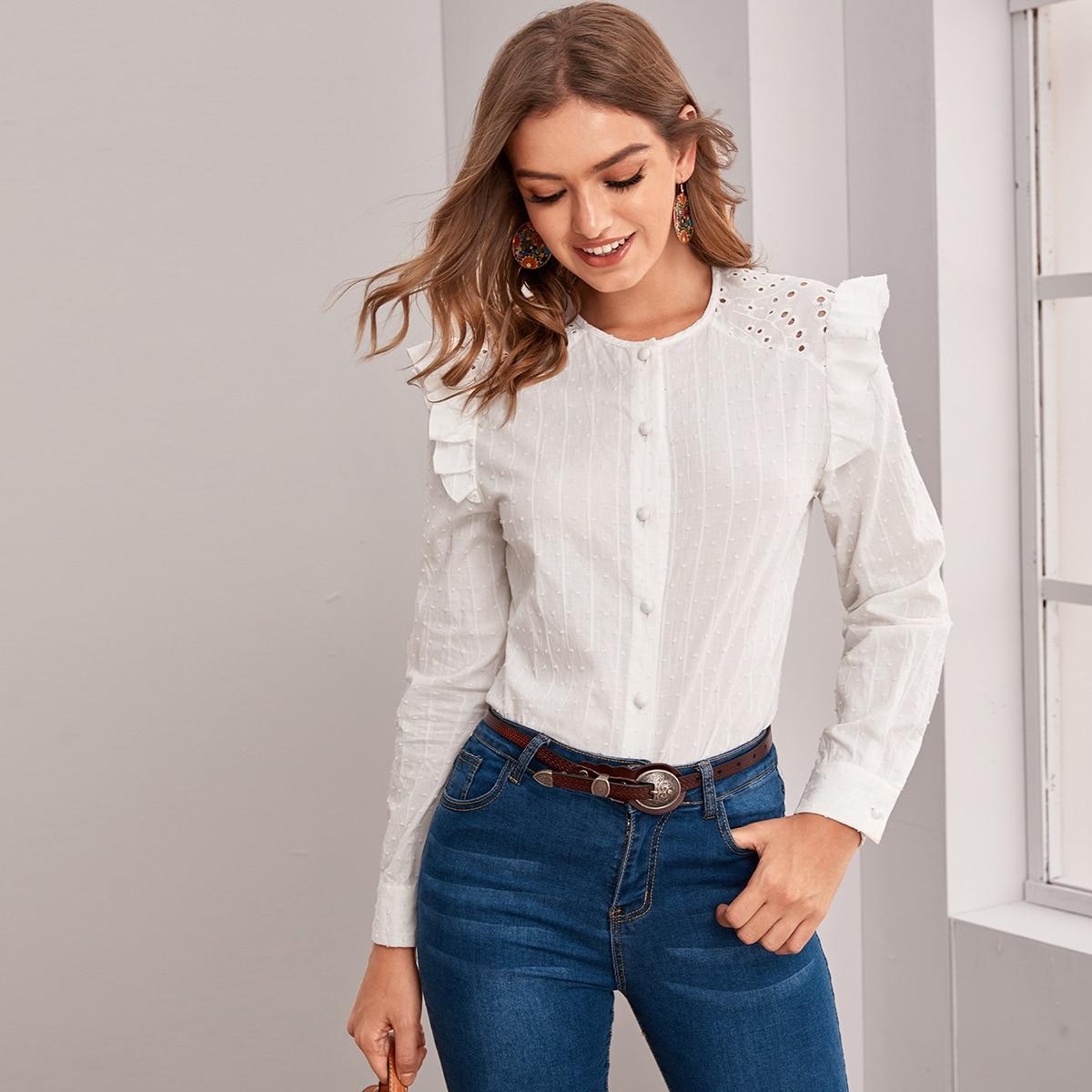 Стильная блуза с оборками