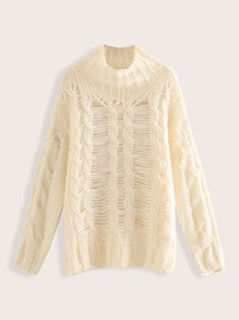 Solid Ripped Cable Knit Mock Neck Jumper