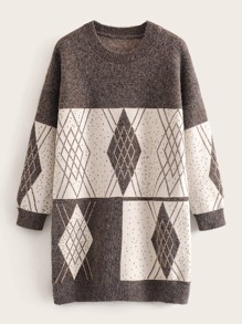 Argyle Knit Fuzzy Longline Sweater