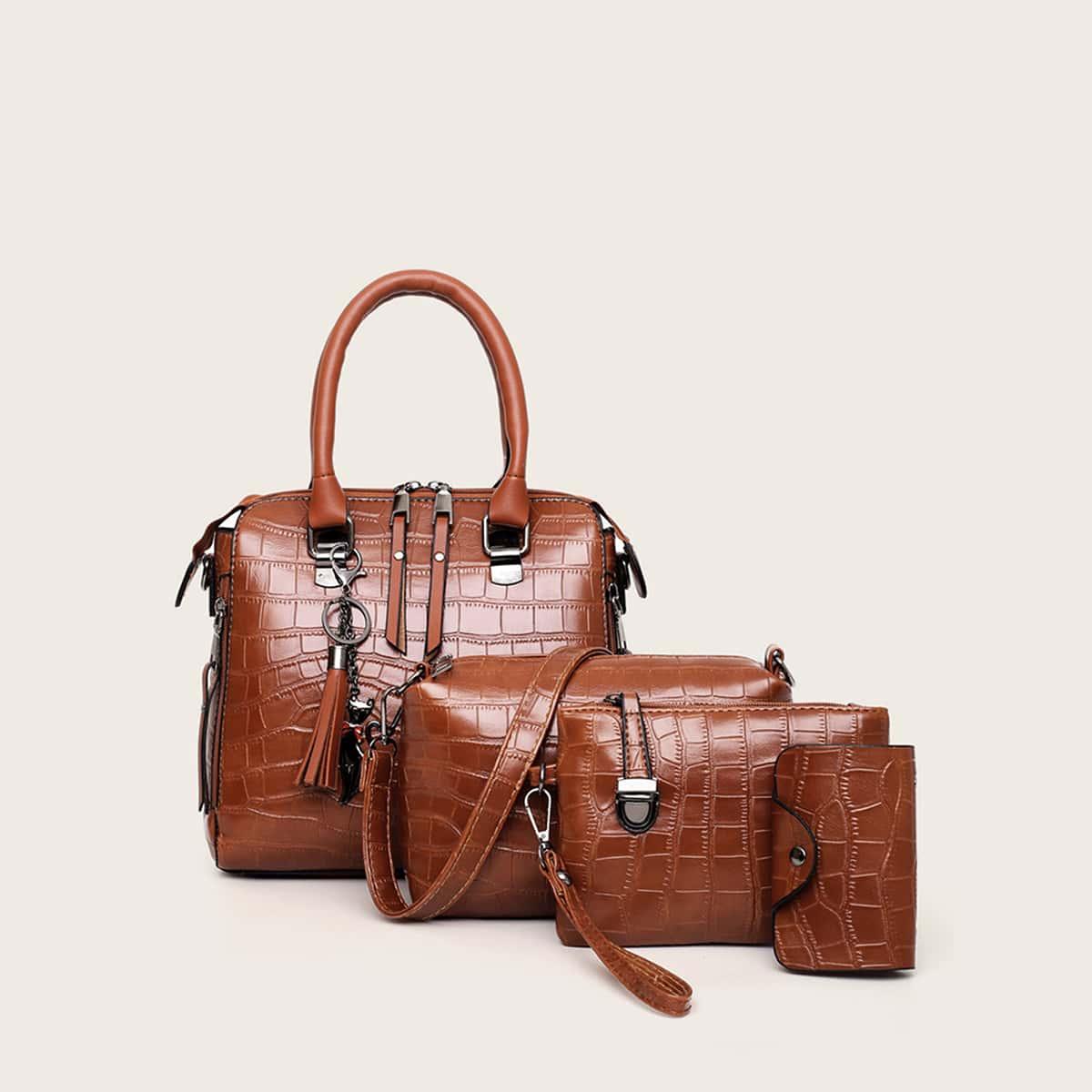 Рельефная сумка с бахромой 4шт