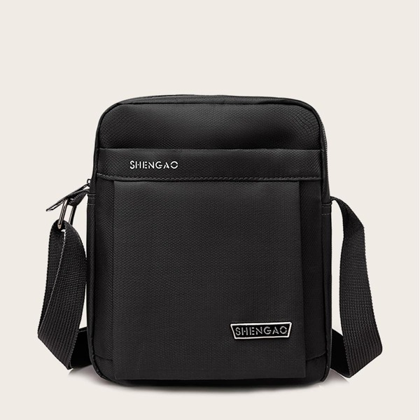 Men Letter Detail Crossbody Bag, Black