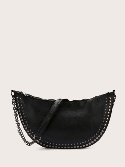 Studded Decor Chain Crossbody Bag