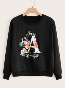Plus Floral & Letter Graphic Sweatshirt