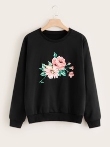 Plus Floral Print Round Neck Sweatshirt