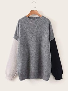 Contrast Sleeve Drop Shoulder Sweater