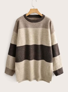 Colorblock Drop Shoulder Split Hem Sweater