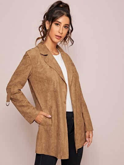 Suede Lapel Slant Pocket Coat