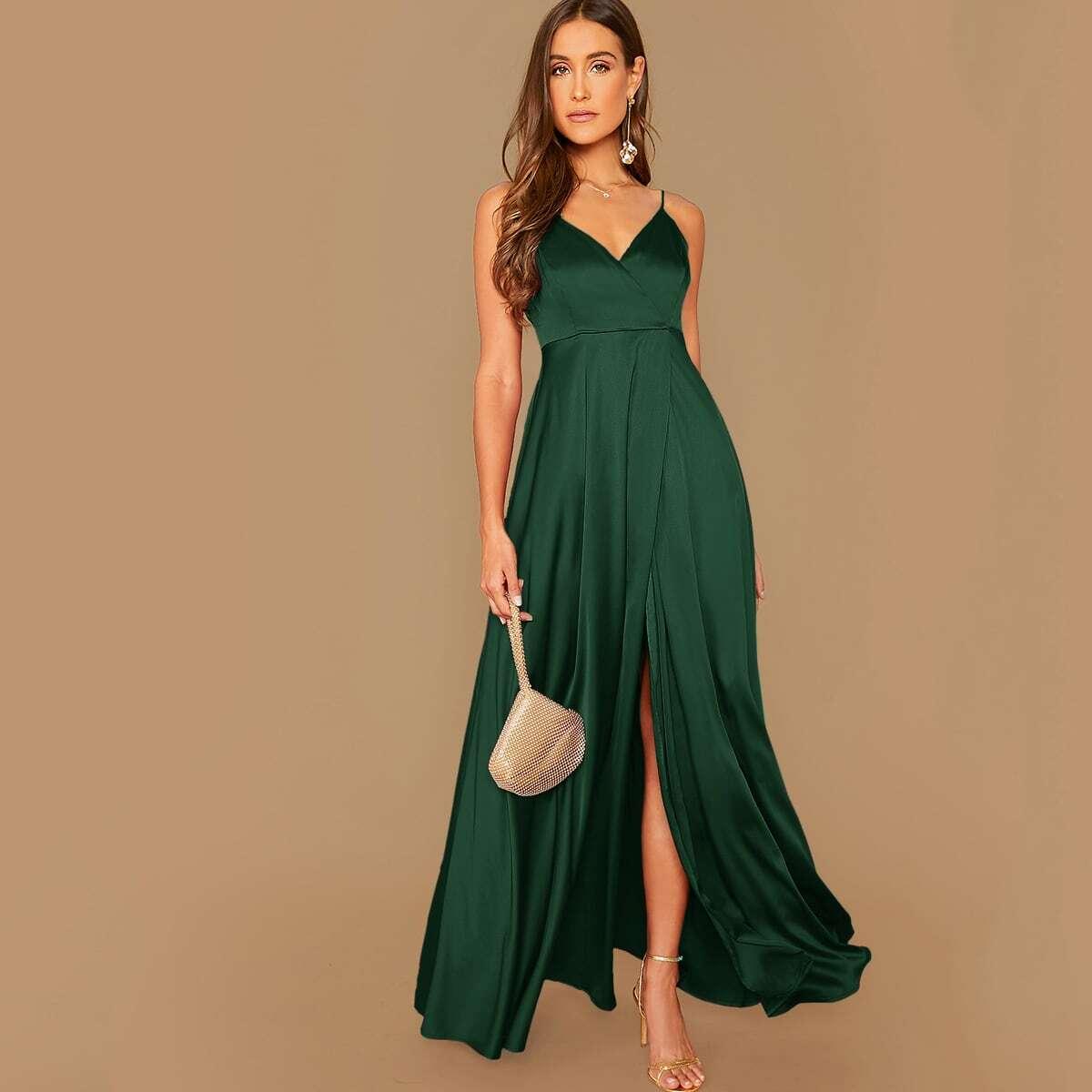 Длинное атласное платье на запах