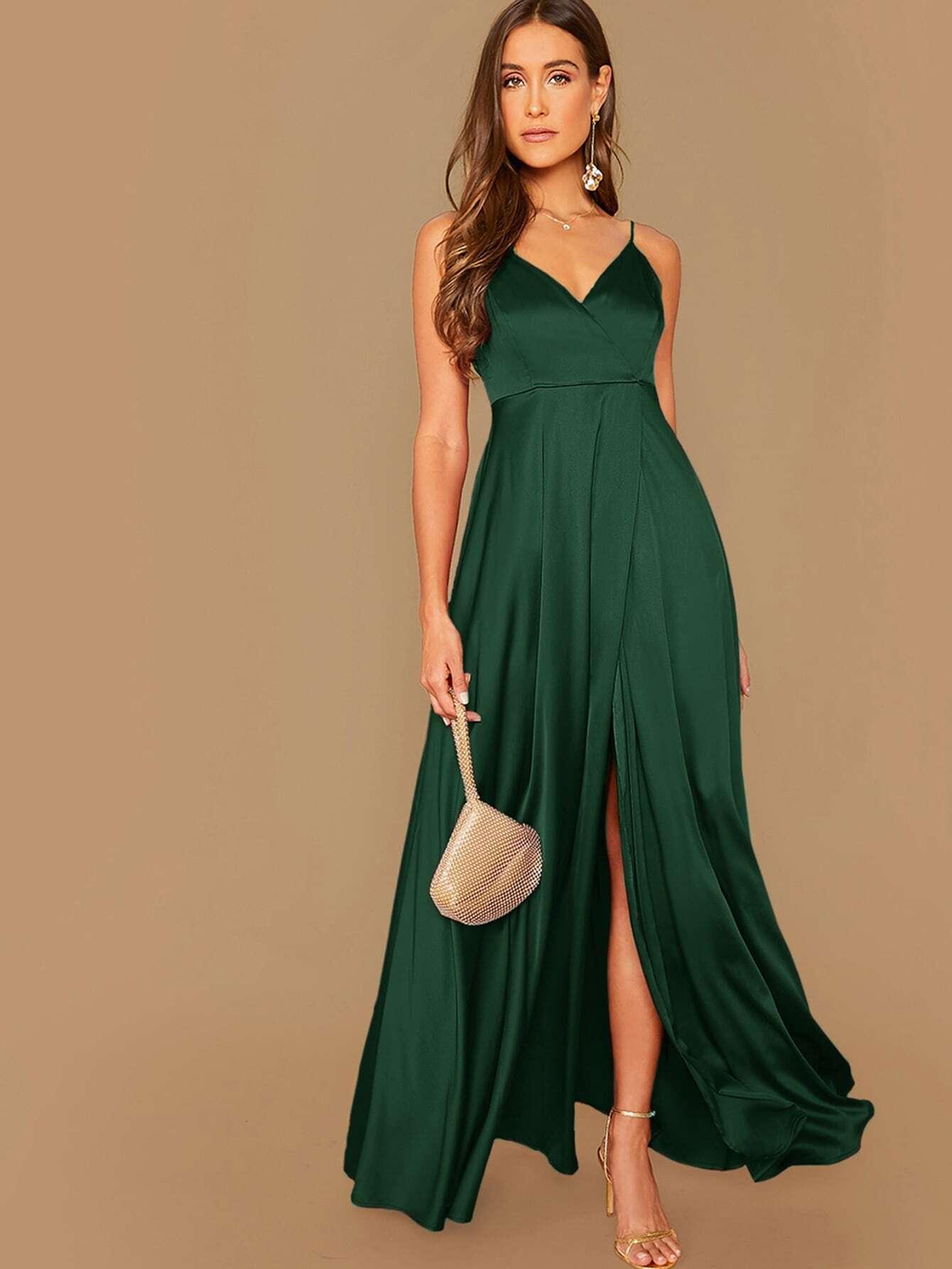 Surplice Wrap Maxi Satin Dress thumbnail