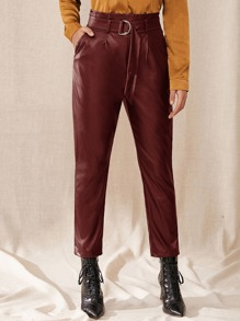 High Waist Belted Leather Look Pants