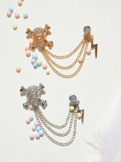 2pcs Rhinestone Engraved Skull Shaped Chain Brooches Set