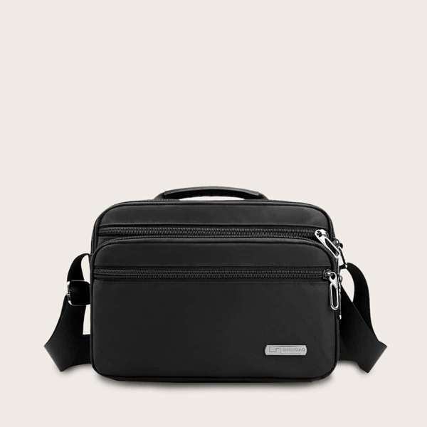 Men Double Zip Front Briefcase Bag, Black