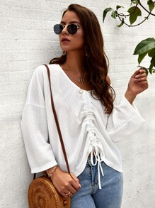 Drawstring Hem Drop Shoulder Sweater