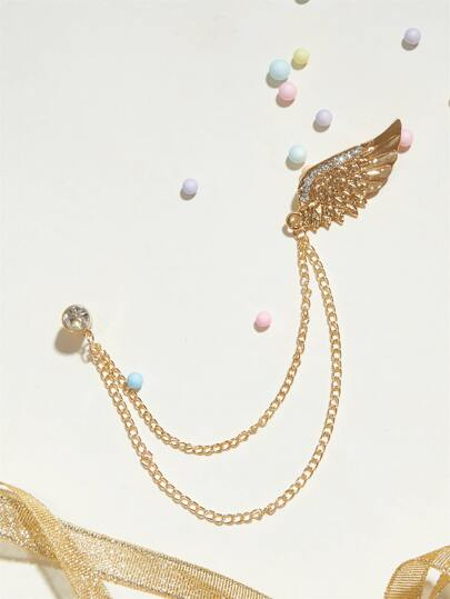 1pc Rhinestone Engraved Feather Shaped Chain Brooches