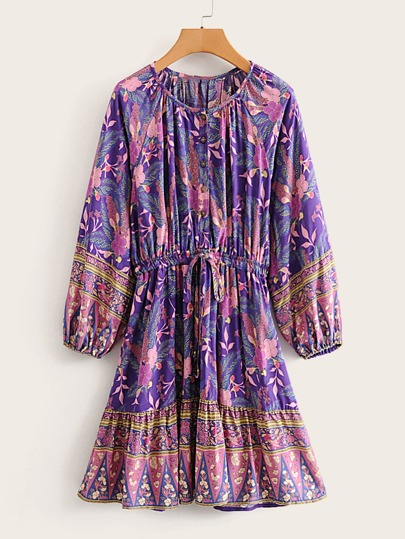 Floral Print Raglan Sleeve Drawstring Waist Dress