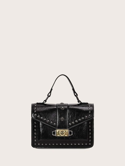 Twist Lock Studded Decor Flap Satchel Bag