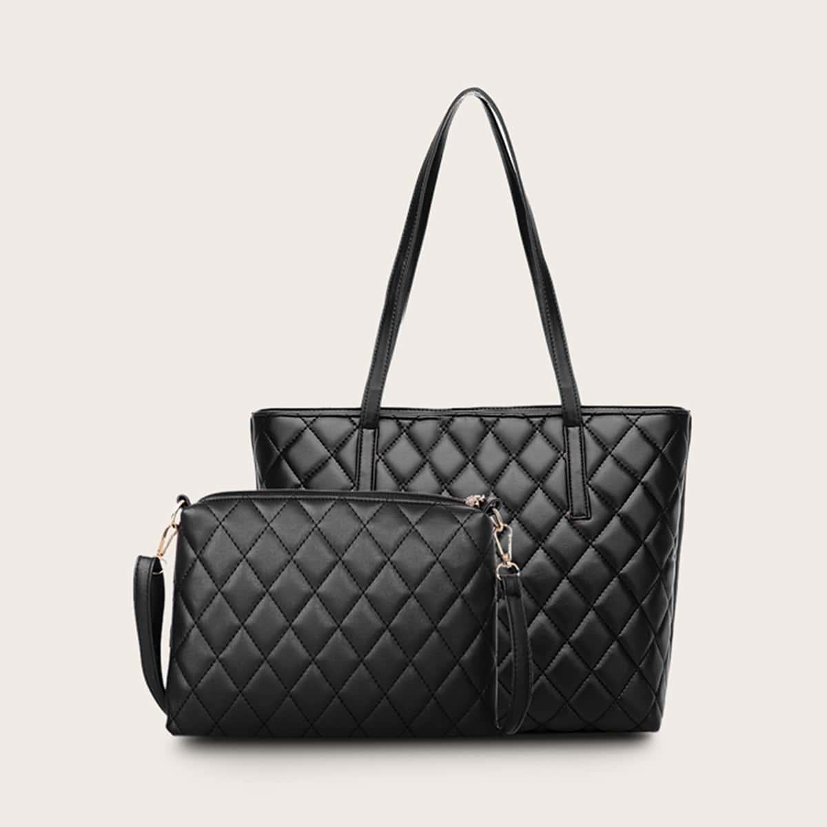 Стеганая сумка-тоут и сумка через плечо 2шт