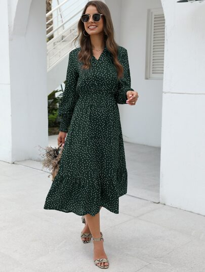 Polka Dot Lettuce Frill Ruffle Hem Dress