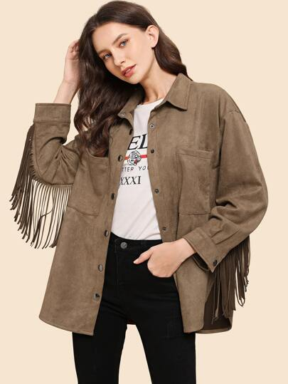 Button Through Double Pocket Fringe Suede Coat