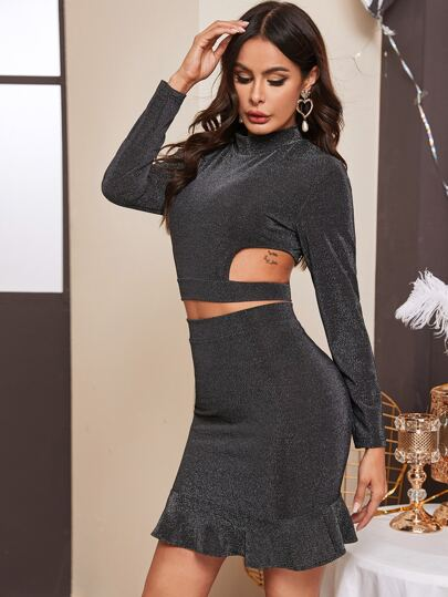Cut Out Crop Top & Mermaid Hem Bodycon Skirt Set